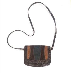True vintage braun Patchwork Kroko Style Designer Luxury Bohemian Tasche