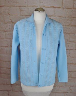 True Vintage Cardigan Strickjacke Größe 38 40 Blau Hellblau Silberfarben 50er Rockabilly Trikot Jacke Granny