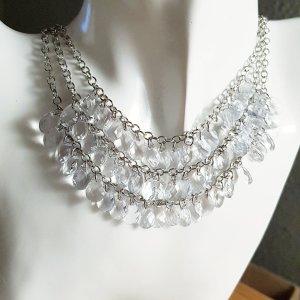 True Vintage Collier in silber mit weißen Kristallen