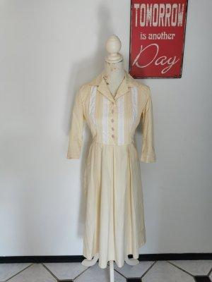 True Vintage Damen Kleid Häkelspitze Maxikleid hellgelb Größe 38/40