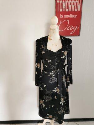 True Vintage Damen Langarmkleid Etuikleid Blumen schwarz Größe 40