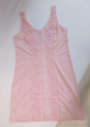 True Vintage Dessous Unterkleid Nachtkleid Hemdchen Größe M 38 40 Rosa Rose Transparent Spitze