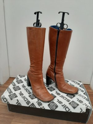 True Vintage Wysokie buty na obcasie brąz Skóra