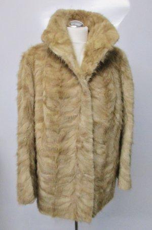 True Vintage Echter Pelz Fuchs Mantel Kurzmantel Größe L 40 Hellbraun Kuschelig Pelzmantel Rotfuchs Wintermantel Jacke