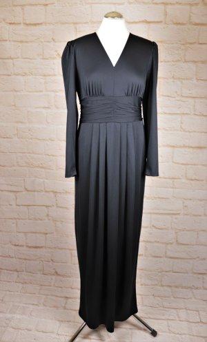 True Vintage Elegant Maxikleid Abendkleid Größe 38 Schwarz V-Neck