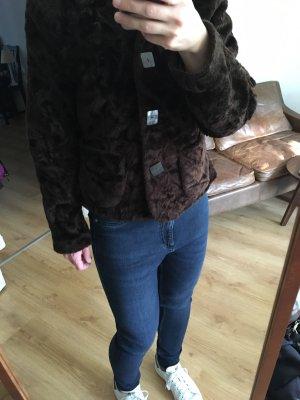 Vintage Futrzana kurtka brązowy-ciemnobrązowy