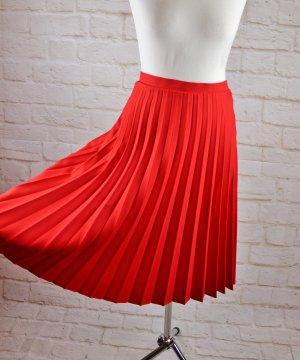 Vintage Jupe à plis rouge polyester