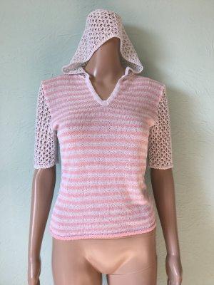 Top en maille crochet blanc-rose clair