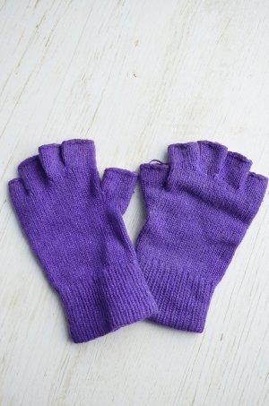 True Vintage Handschuhe Wolle Fingerhandschuhe Bettlerhandschuhe Fingerlinge Handarbeit Lila