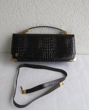 True Vintage Handtasche Ledertasche Lackleder 60er 70er Braun/Bordeaux Marmoriert Pierre Cardin