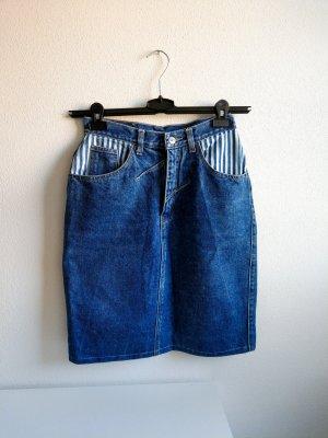 True Vintage High Waist Jeansrock mit Streifendetails Gr. 38, 80er 90er