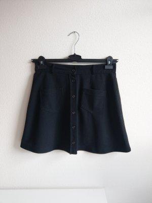 True Vintage high waist Trapez-Rock schwarz mit Knöpfen und Taschen vorne Gr. 38