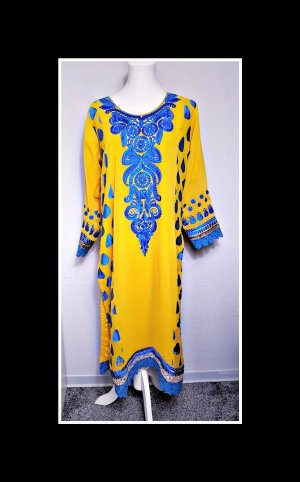 Vintage Caftán amarillo-azul