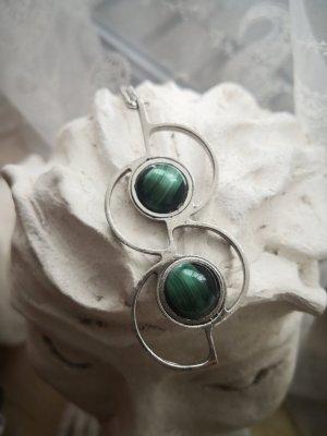 Zdobiony naszyjnik srebrny-zielony