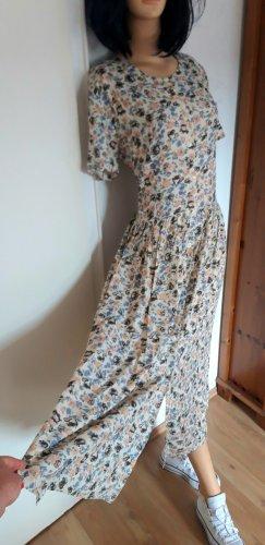 true vintage Kleid L 40 Maxikleid maxi retro 80er 90er Sommerkleid midikleid midi  Blumen geblumt floral Knöpfe