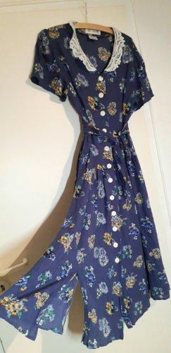 true vintage Kleid L 40 Viscose midikleid midi Kragen Blumen geblumt floral Maxikleid maxi retro 80er 90er Sommerkleid