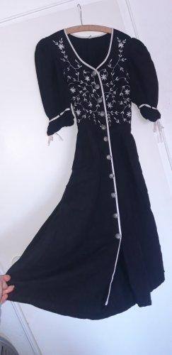 true vintage Kleid M 38 Maxikleid maxi midikleid midi retro 80er Knöpfe Landhaus sommerkleid schwarz Leinen Baumwolle
