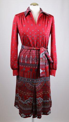 True Vintage Kleid Midikleid KIO Größe 36 38 Rot Grau Ornamente V-Neck Paisley Jersey Folklore 70er Hippie Langarm