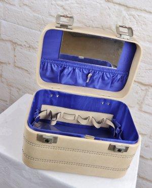 True Vintage Kosmetik Koffer 70er Jahre Creme Blau Deadstock Kosmetiktasche Reisekoffer Royalblau