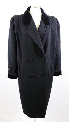 True Vintage Krasse 80er Mantel Schultern Größe XL 42 Schwarz Lila Samt Kragen Doppelreiher Reine Wolle Wollmantel