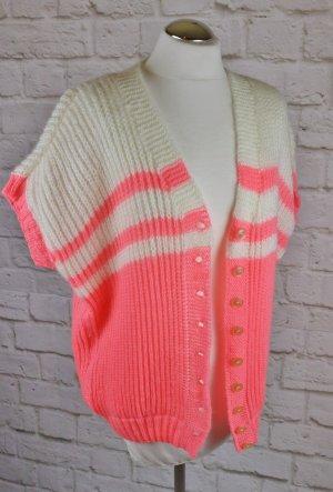 True Vintage Kuschelig Strick Cardigan Größe L 42 Neon Pink Rosa Creme 80er Cape Oversize Pullover