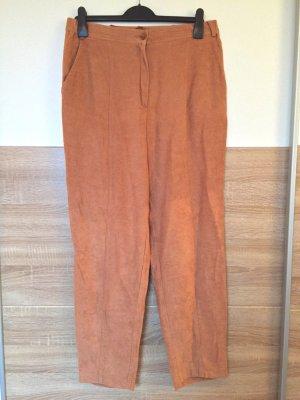 True Vintage lange braune Wild-leder Hose, Gr. 44