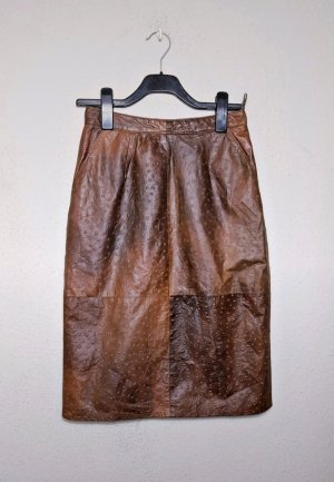 Vintage Leather Skirt brown-cognac-coloured