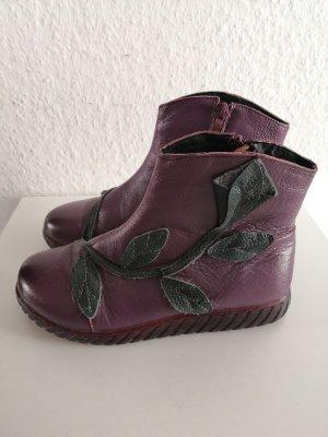 True Vintage Leder Stiefel Lila gefüttert