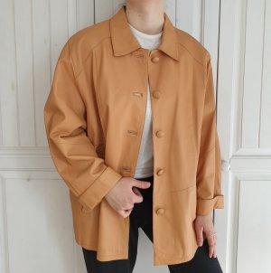 True Vintage Lederjacke Bikerjacke Gelb orange ocker Mantel Oversize 24 Jacke