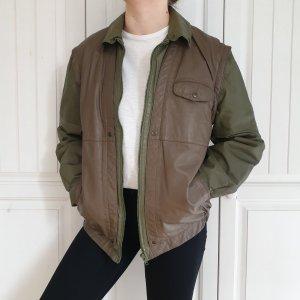 True Vintage Lederjacke leder jacke echtleder Mantel Oversize you 50 L XL grün braun