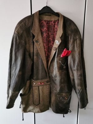 True Vintage Ledermann Design Lamm Nappaleder Jacke Trachten Größe 40