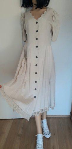 true vintage Leinenkleid L 40 Kleid Leinen maxi midi midikleid Maxikleid beige Stickerei Beige lang retro 80er
