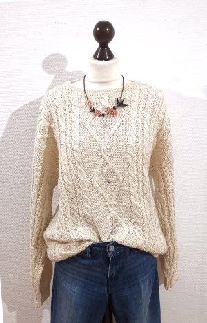 Vintage Warkoczowy sweter jasnobeżowy-w kolorze białej wełny