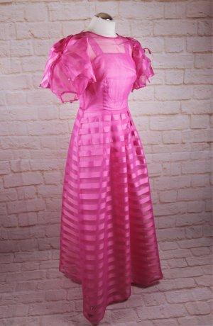 True Vintage Maxikleid Festkleid Größe 34 36 Knall Pink Rosa Rüschen Chiffon Streifen