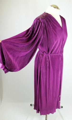 True Vintage Maxikleid Kleid Plissee Couture Bernd Linek Größe 40 42 44 Stickerei Volant Violett Bordeaux Lila Brombeer Boho Hippie 70er 60er Maxi Falten