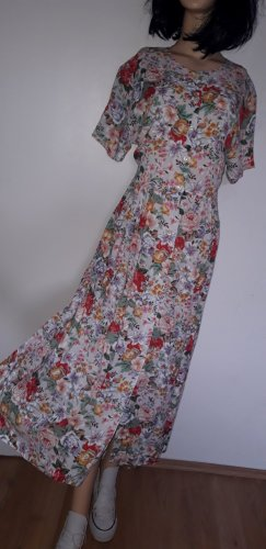 true vintage Maxikleid L 40 retro Kleid lang bodenlang 90er 80er Knöpfe durchgeknöpft Blumen geblumt