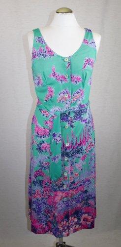 True Vintage Midi Kleid Flower elle Größe S 36 Blumen Garden Flieder Grün Lila Pink Knopfleiste Hemdkleid Kittel Midikleid