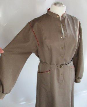 True Vintage Midi Kleid Trevira Größe L 42 Khaki Rot Langarm Uniform Berlin Gürtel Stewardess Stehkragen