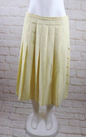 Vintage Jupe à plis jaune clair-jaune primevère