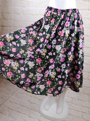 True Vintage Midirock Größe 38 40 42  Schwarz Bunt Rosa Gelb Weiß 3D Blumen Druck Rosen Muster Midi Rock Skirt Big Bang