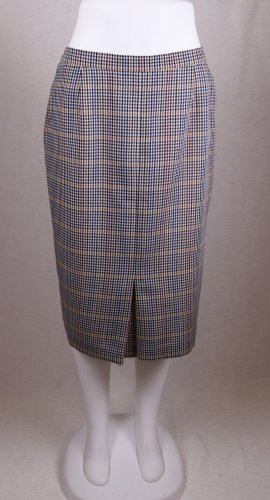 True Vintage Midirock Pencil Skirt Rock Frankenwälder Größe 40 42 Karo Kleinkariert Kariert Braun Blau Rot Gelb