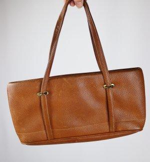 True Vintage Mini Leder Handtasche Goldpfeil Baguette Cognac Braun Rehbraun Clutch