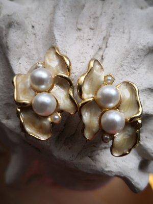 True Vintage Ohrringe Clips 80s 90s Emaille Perlen