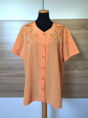 True Vintage orange Blumen Stickerei Bluse oversized, Gr. S-M