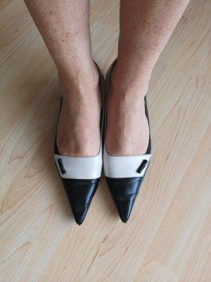 True Vintage Peter Kaiser Leder Pumps Schuhe Schwarz Weiß