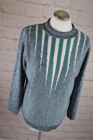 True Vintage Pullover 80er Strickpullover Größe M 38 Long Pulli Strick meliert Streifen Grün Creme Türkis