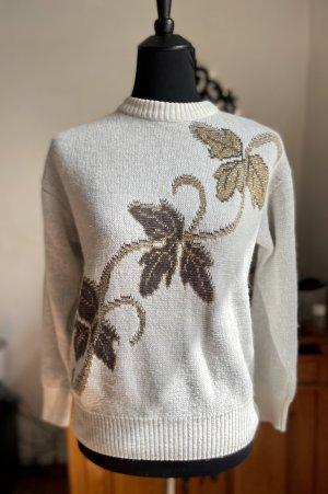 True Vintage Pullover mit Blätter und Glitzer