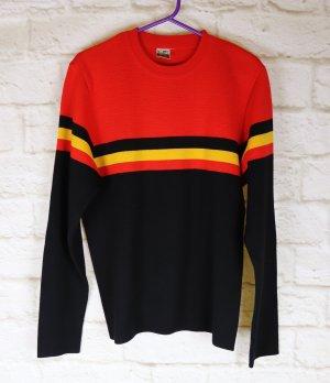True Vintage Pullover Schoeller Today Größe 38 40 M Rot Schwarz Gelb Streifen Wolle Rundhals Strickpullover Pulli
