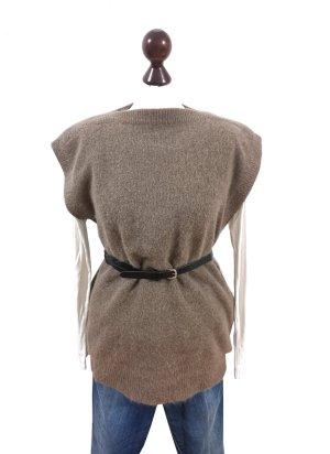 Vintage Lange cardigan lichtbruin-grijs-bruin Wol