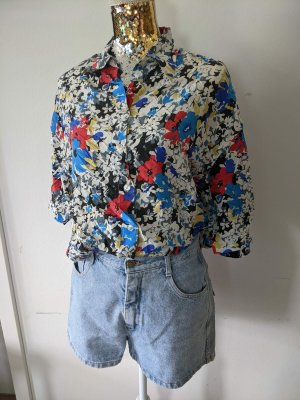 True Vintage Retro Bluse 100% Seide bunt Blumen Gr. 42/ 44